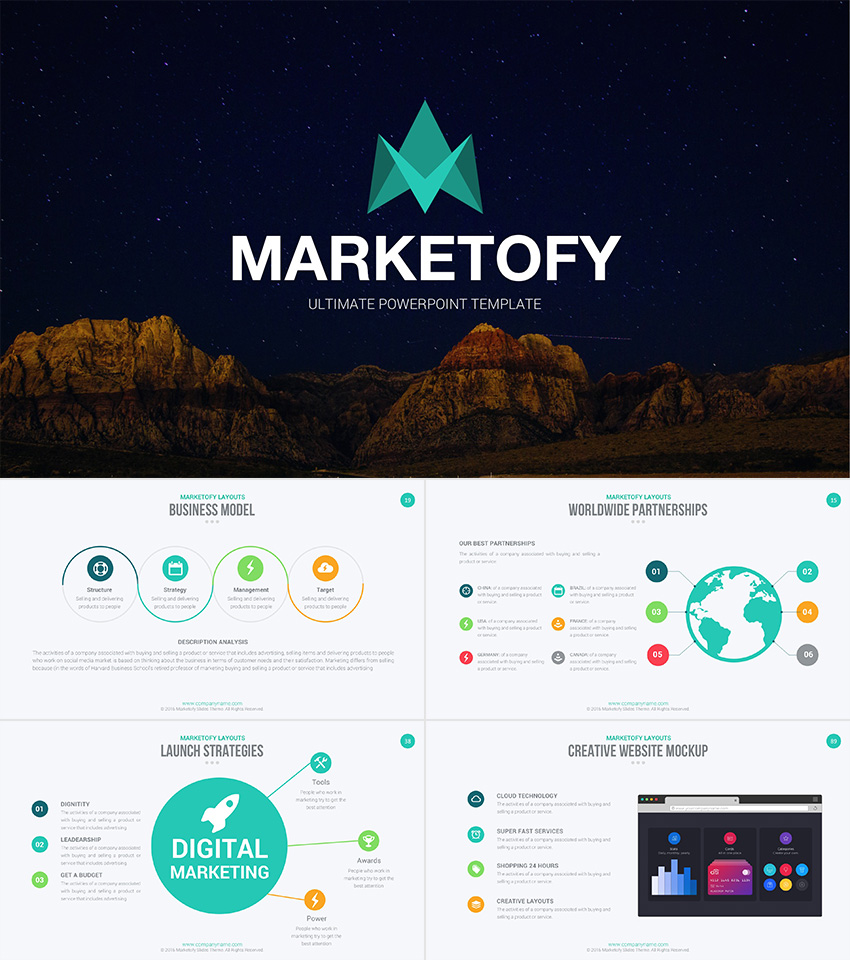 27 free company profile powerpoint templates for presentations marketofy ultimate company profile powerpoint template friedricerecipe Image collections