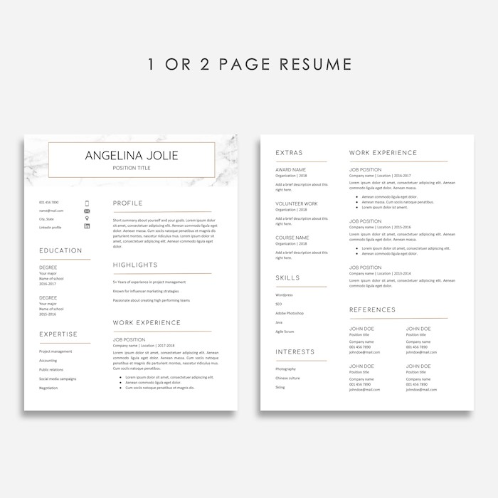 resume marble gold resume template