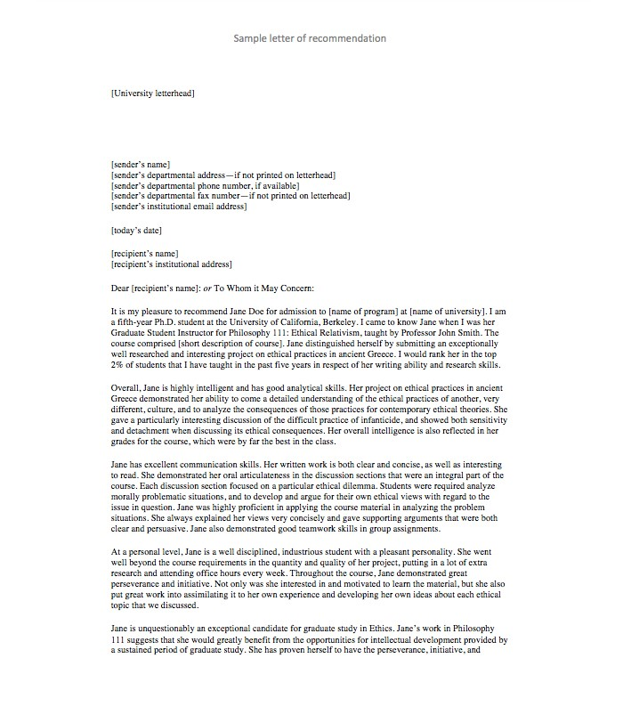 Letter Of Recommendation For Teacher  Templates And Examples