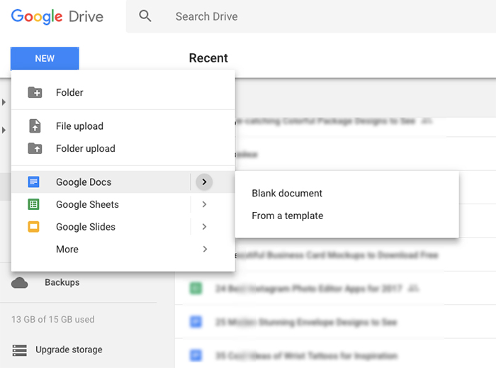 use google docs template