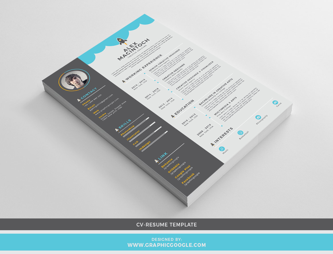 Creative CV-Resume Design Template With Cover Letter
