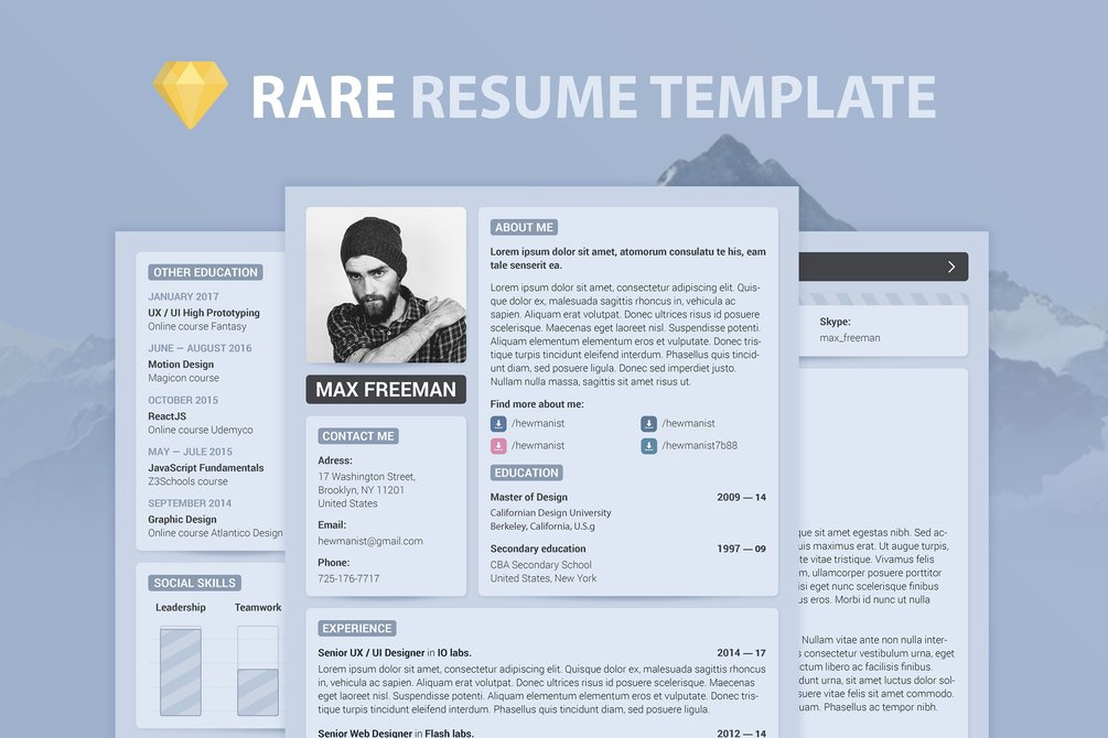 modern hipster resume template