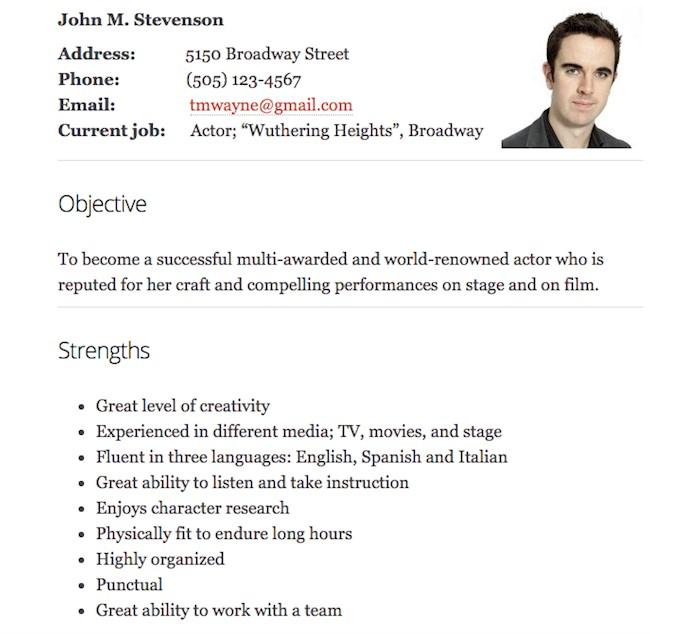 acting-resume-sample