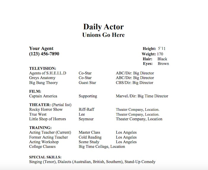 daily actor resume