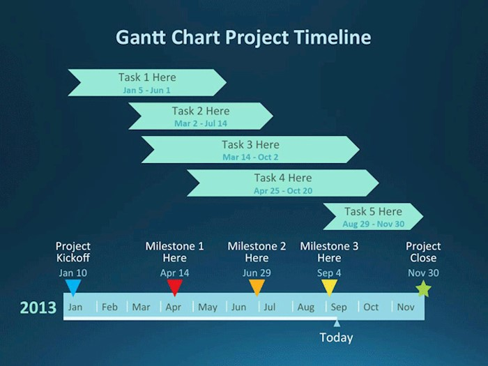 gantt chart project template blue