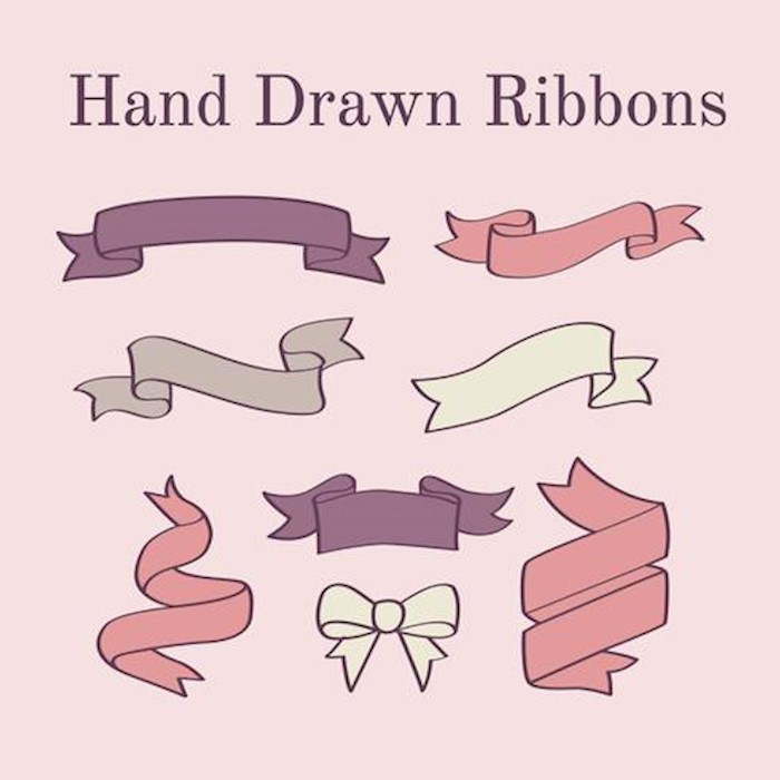 pink-hand-drawn-ribbons-vector