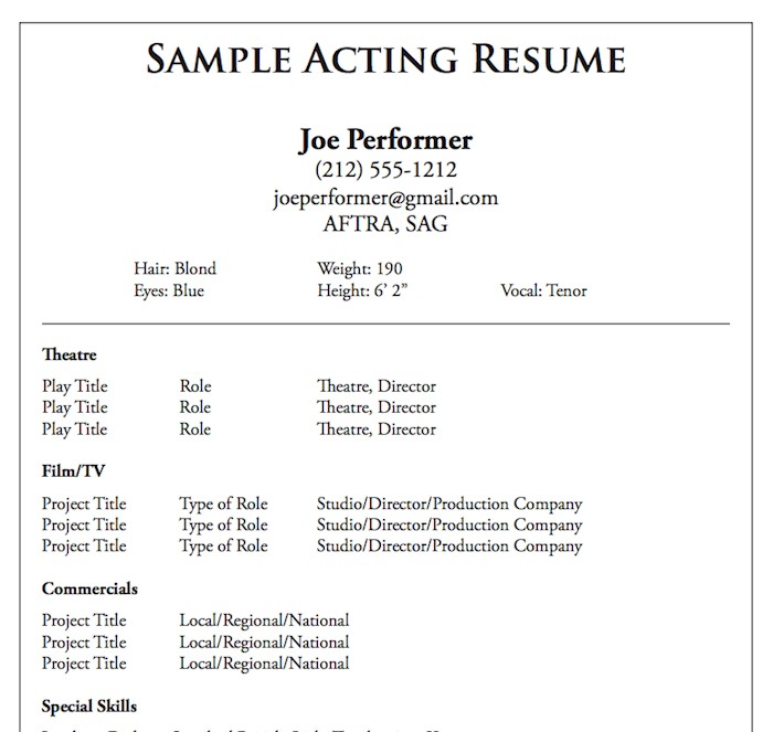 theatre-acting-resume